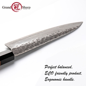 Image 5 - Santoku bıçak el dövme 7 inç 3 katmanlar japon AUS10 yüksek karbonlu paslanmaz çelik şef mutfak pişirme araçları eko dostu
