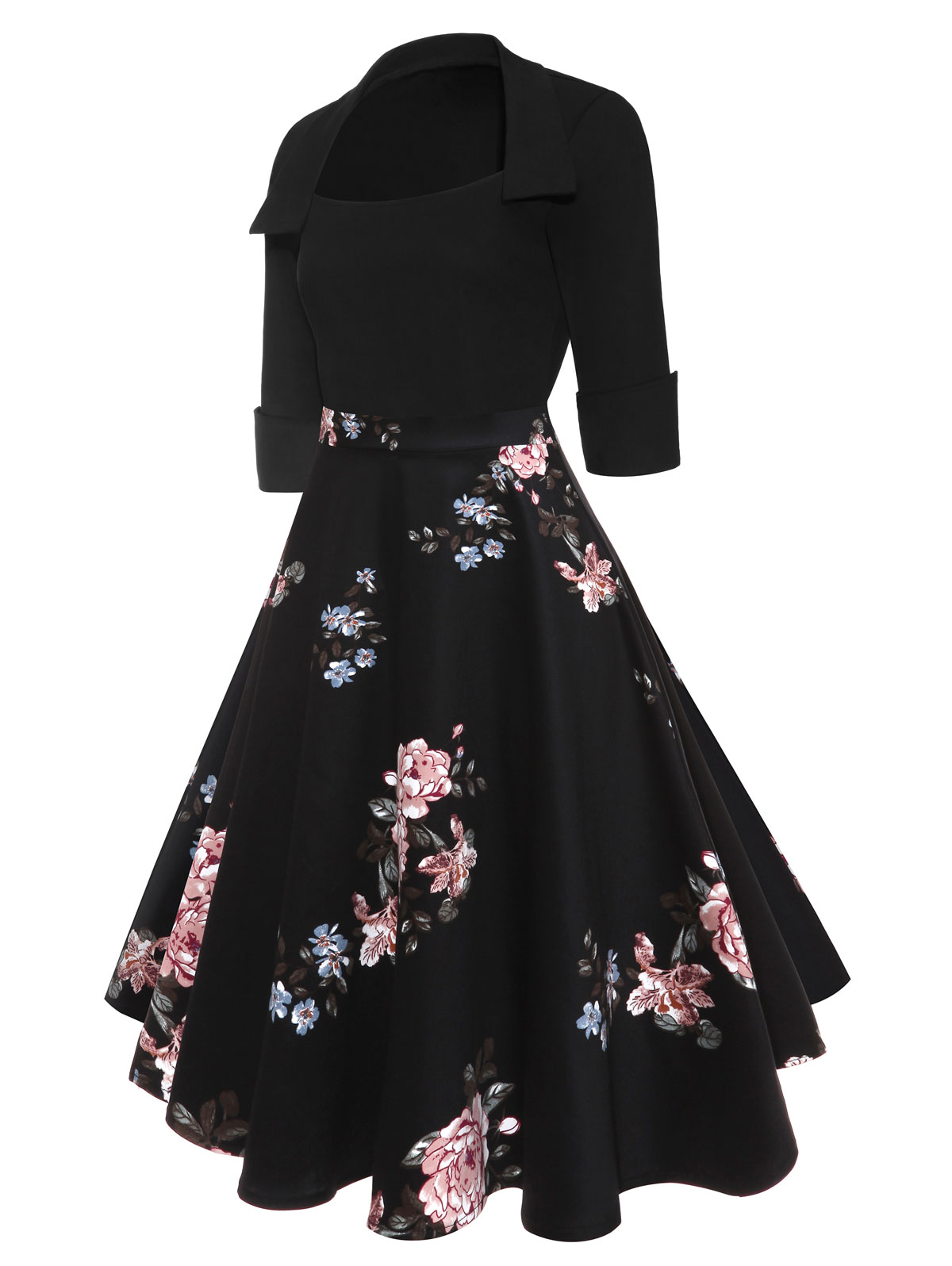 27575e90b Compre AZULINA Audrey Hepburn Vintage Party Dress Mujer Floral Flare ...