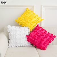 Urijk 1PC Creative Pillow Home Textile Handmade Flower 3D Decorative Pillows Solid Square Simple Design Cojines
