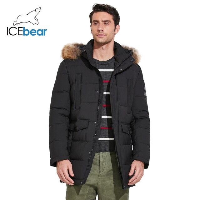 ICEbear 2017 Качественная модная тёплая мужская куртка с мехом из енота средней длины плотная парка для отдыха отличный бренд 17MD901D