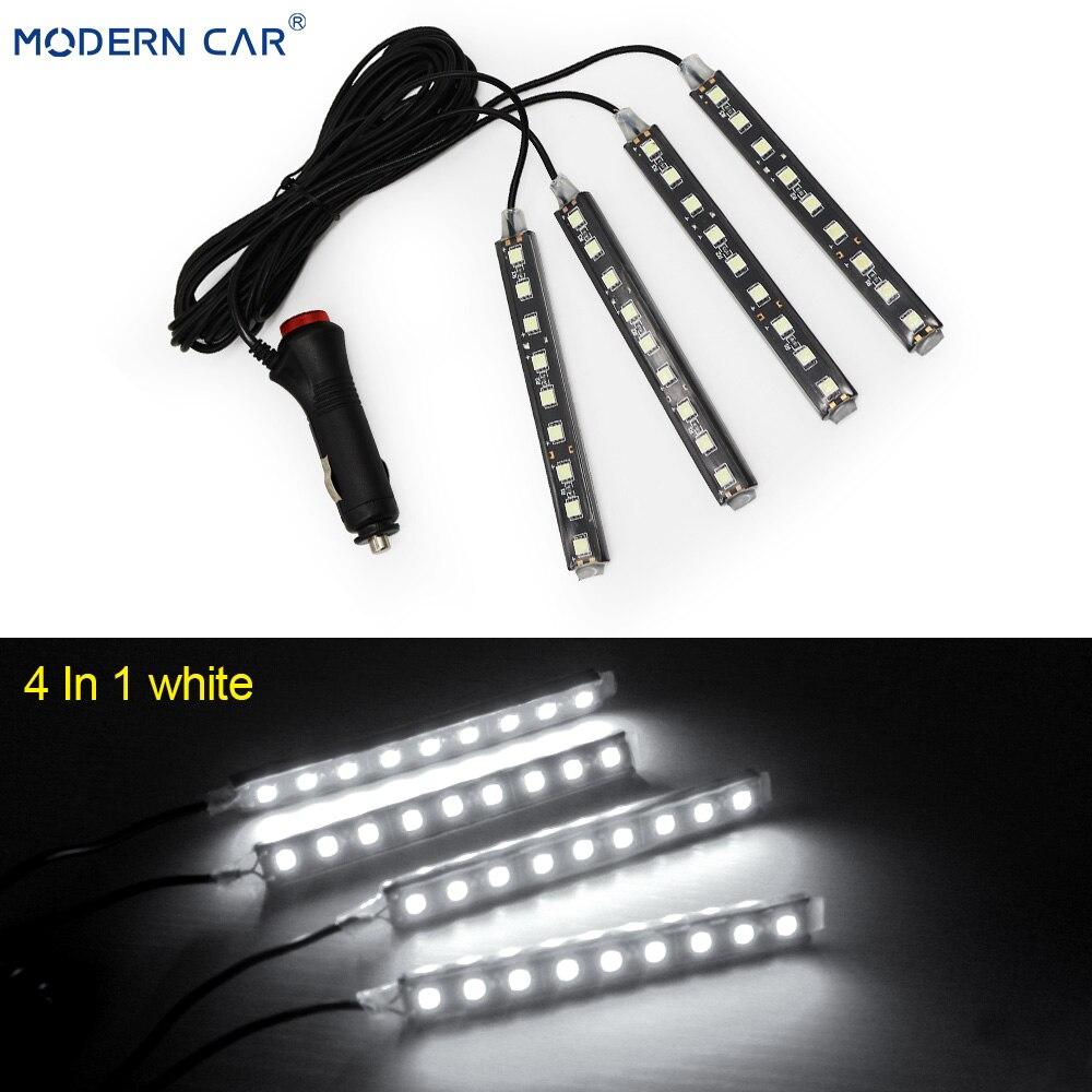 Современный автомобильный 9 светодиодный 2/4 в 1 интерьерный 5050 атмосферный свет тире пол ноги полосы света адаптер прикуривателя декоративная лампа - Испускаемый цвет: 4 In 1 White