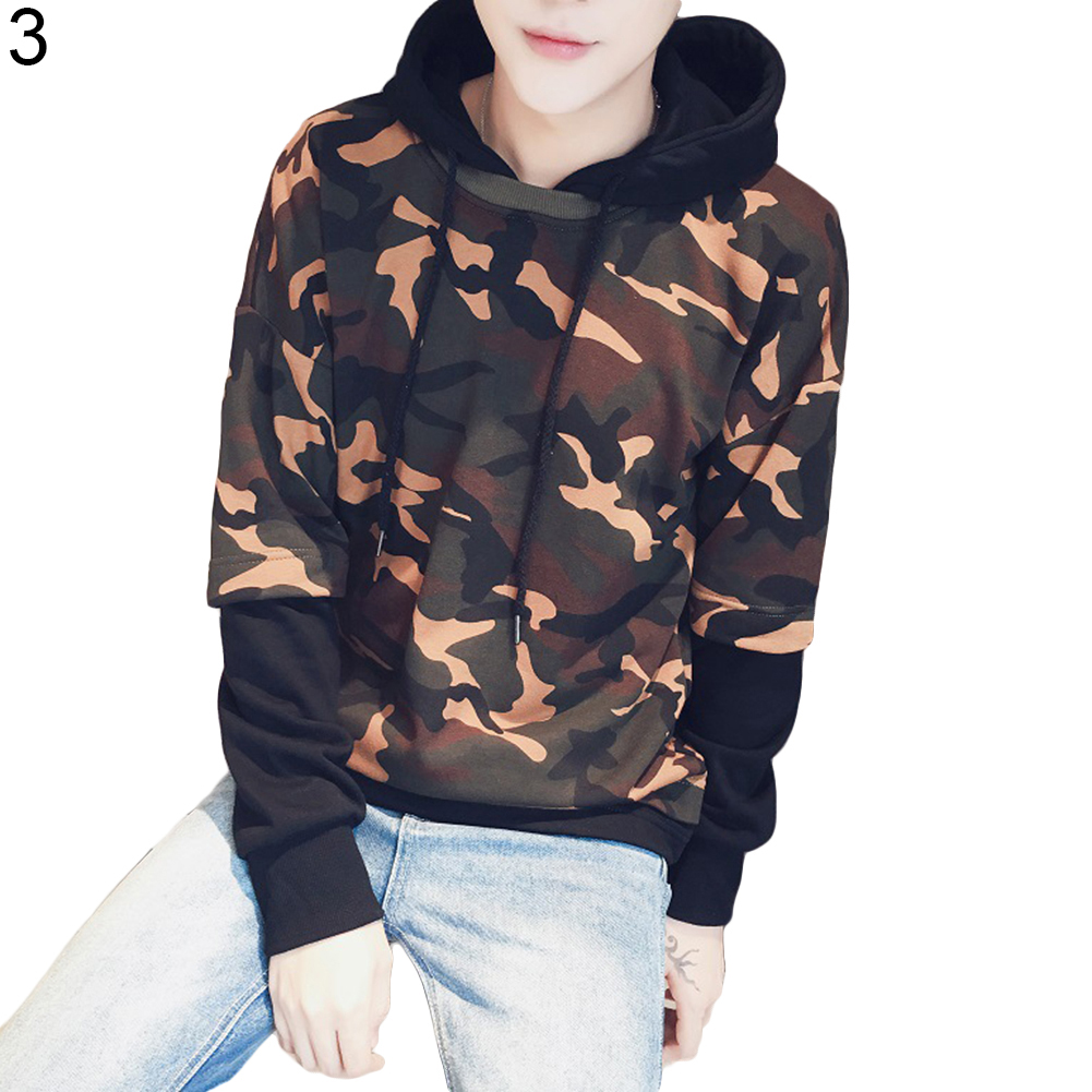 men s fake two camouflage hoodies fashion tracksuit