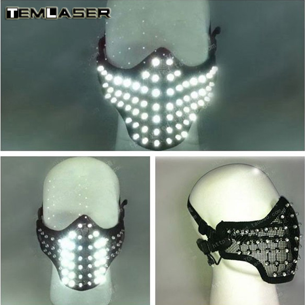 Gratis frakt LED-glödande ljusmasker Hero Face Guard PVC Masquerade Party Halloween Födelsedag LED Masker