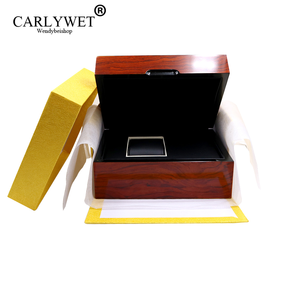 CARLYWET Wholesale High Quality Fashion Luxury Mixed Material Watch Box Jewelry Storage Case Gift With Pillow high quality multicolore pattern flax pillow case without pillow inner