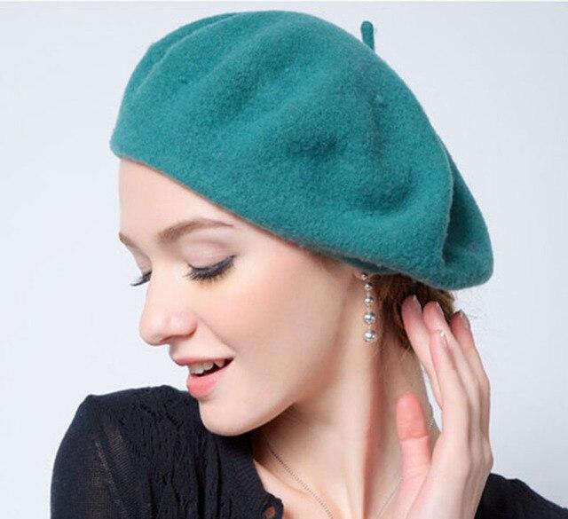 Wholesale 6pcs High Quality Women Wool Berets Caps Ladies Winter Felt Beret  Hats 2017 Womens Winter Wool Cap Lady Trilby Hat a5c1ae020ff