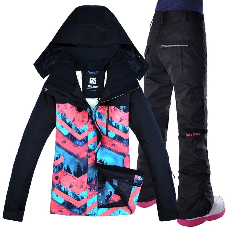 2018 GSOU SNOW Women Ski Suit Snowboard Jacket Pant Winter Clothing Trouser Super Warm Outdoor Sport Wear Female Suit Hooded Set men plus size 4xl 5xl 6xl 7xl 8xl 9xl winter pant sport fleece lined softshell warm outdoor climbing snow soft shell pant