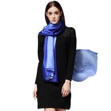 FS Women Silk Satin Scarf Luxury Brand 2017 Gradient Color Large Bandana Long Shawl Soft Ladies Scarves Wraps Echarpe Pashmina