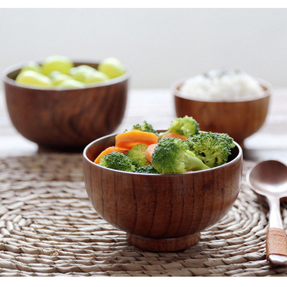 A Kitchen Is Launching An Express Lunch Service: NEW 9.5 11cm Natural Jujube Wooden Bowl Soup Rice Noodles