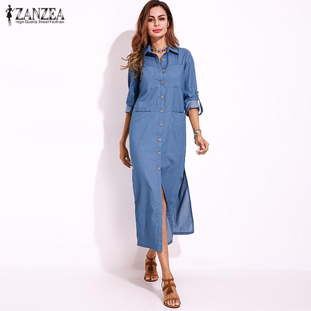 ce4b628f ZANZEA 2018 Autumn Women Lapel Collar Long Maxi Shirt Dress Buttons Down  Long Sleeve Slits Hem