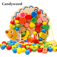 82 Pcs Wooden Hedgehog Fruit Toys For Children Learning Education Wooden Toys Montessori Educational Toy baby boy girl Gifts