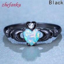 2017 Female Black Heart Shaped Women Rings Wedding Ring Jewelry Vintage Women Birthday Stone Quality Control