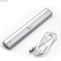 USB Rechargeable Aluminum Wardrobe Window Lights Sensor Lights Car Trunk Infrared Sensor LED Night Light