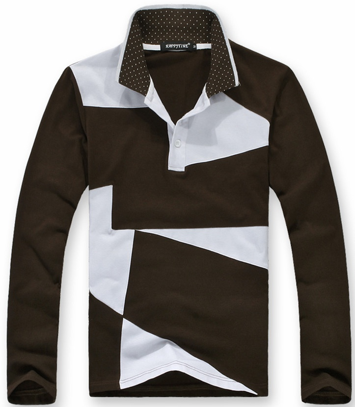 Autumn New Fashion Hot Irregular Stitching Mixed Colors Men's Long Sleeve Leisure Joker   Polo   shirt