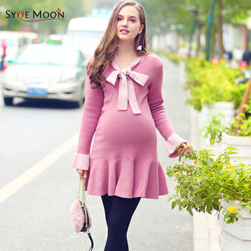 Autumn Winter Maternity Thicken Dress Pregnancy Clothes Cotton Pleated Casual Long Sleeve Women Pregnancy Fashion Tutu Dresses fashion cotton padded maternity shirts autumn winter fashion thick knitted long sleeve pregnancy tops loose maternity clothes