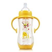 Children handle cartoon silicone nipple infant shatter proof heat proof 300ml Tritan baby bottle on sale KD1265