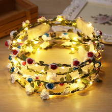 Fashion Women Wedding Party Headpiece LED Light Flower Floral Garland Headband(China)