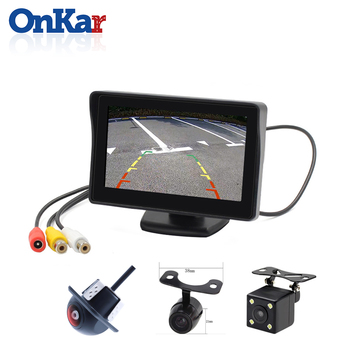 ONKAR Car TFT LCD 4.3 inch Monitor Display Reverse Camera HD Input Parking Sensor System With Video input NTSC PAL image
