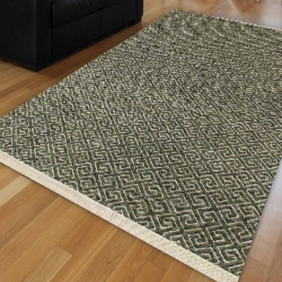 Autre Nordec vert verrouillé ikat géométrique scandinave moderne antidérapant Kilim lavable décoratif plaine peinture tissé tapis tapis
