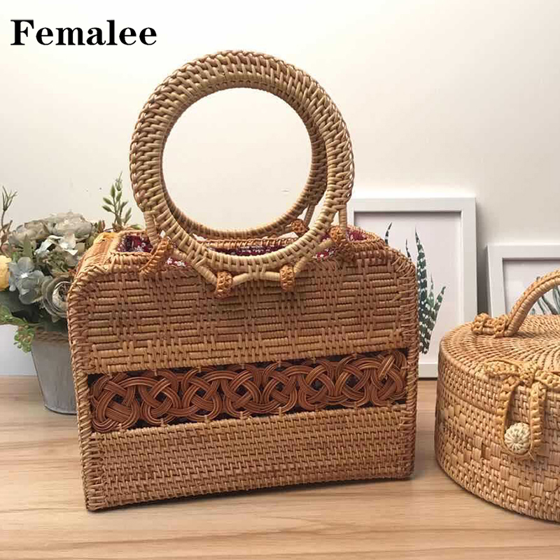 FEMALEE Rectangle Rattan Totes New Satchel Wind Bohemia Summer Beach Bag Bali Island Hand Woven Bag Box INS Rattan Straw Bags все цены