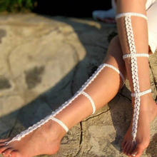 Boho Crochet Cotton Ankle Chain Bracelet Barefoot Sandals Foot Jewelry Anklet
