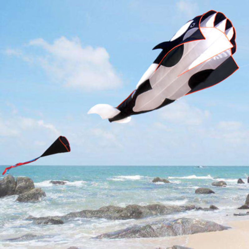 3D Whale Style Kite Single Line Large Flying Kite Children Outdoor Toy Kite 16 colors x vented outdoor playing quad line stunt kite 4 lines beach flying sport kite with 25m line 2pcs handles