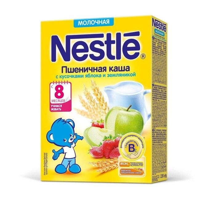 Nestle Молочная пшеничная каша с кусочками яблока и земляникой (с 8 месяцев) 220 г