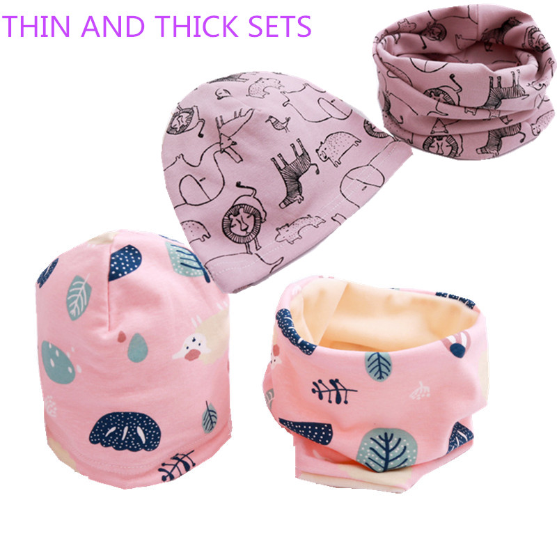 Frugal Cartoon Strip Print Baby O Ring Collar Hat Sets Boys Girls Scarves Beanies Suits Children Neckerchief Accessories Plush Warm
