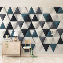 3D triangle fashion Nordic modern minimalist TV background wall professional production wallpaper