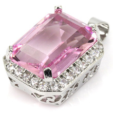 SheCrown Retcangle Shape 18x13mm Pink Kunzite White CZ Gift For Girls Silver Pendant 28x15mm