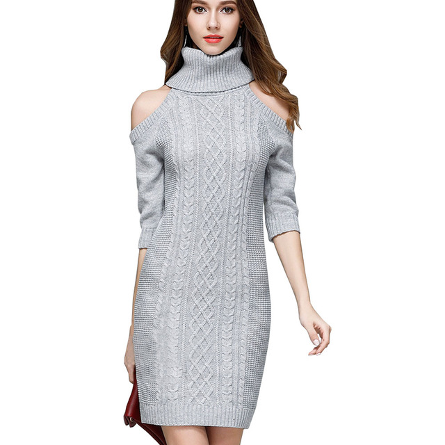 Giraffita Autumn Turtleneck Sweater Women Plus Size Dress Cold