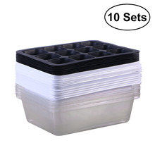 10 Pack Seedling Tray Seed Starter Tray with Dome and Base 12 Cells For Gardening Bonsai – White