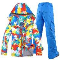 GSOU SNOW Brand Для мужчин лыжный костюм ветрозащитная Водонепроницаемый с капюшоном дышащая Лыжный Спорт сноуборд куртка Пант Открытый Спортивн