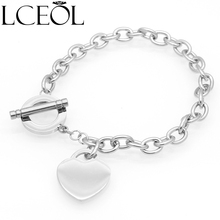 hot deal buy lceol luxurious heart bracelets bangles women big brand design charm jewelry high quality 361 stainless steel wedding bangles