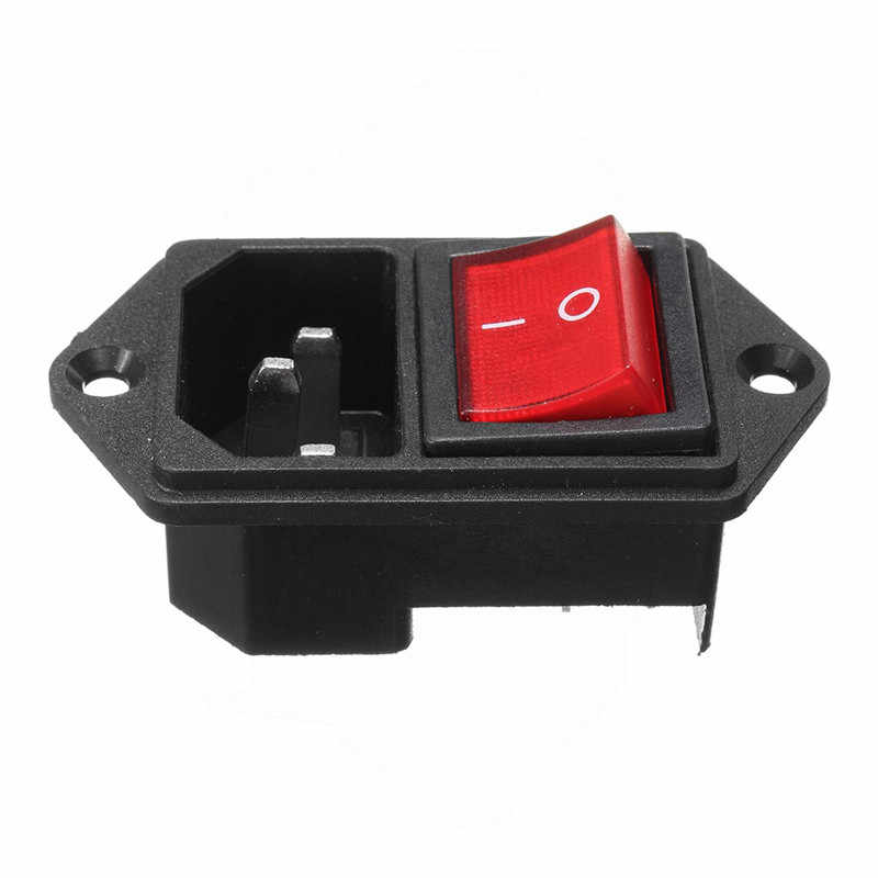1PC 250V 10A Red Black Rocker Switch ON/OFF Fused IEC 320 C14 Inlet Power Socket Switch Connector Removable Rocker Switch