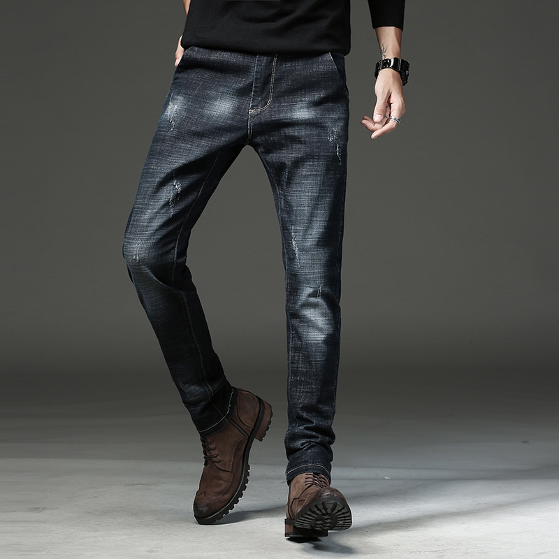 2018 Black Men Jeans Runway Slim Fit Racer Biker Jeans Scratched Fashion Casual Skinny Jeans For Men 720