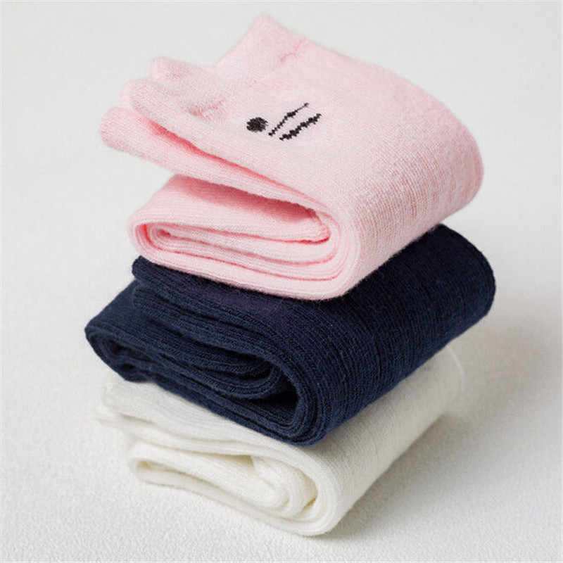 Cute Cartoon Cat Ear Printed Baby Socks Fashion Baby Girl Boy Cotton Sock Newest Toddler Unisex Knee High Pink/White/Navy Socks