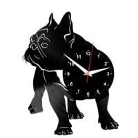 French bulldog dog Wall Clock Vinyl Vinyl Record Retro Clock Handmade Vintage Gift Style Room Home Decorations Great Gift Clock