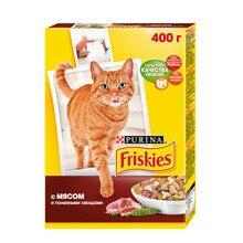 Набор сухой корм Friskies для взрослых кошек с мясом и полезными овощами,, Картонная коробка, 400 г x 10 шт.