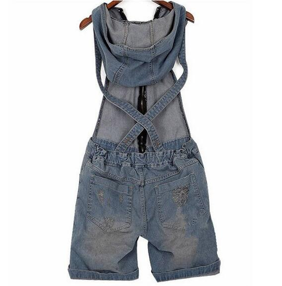 New summer women Hole Denim Overalls ladies Jean Jumpsuits Short Pants Washed Jeans Denim Casual Rompers T131