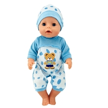 Fit 18 inch 43cm Doll Clothes Born New Baby Blue Bear and Pink Hat Suit accessories For Gift