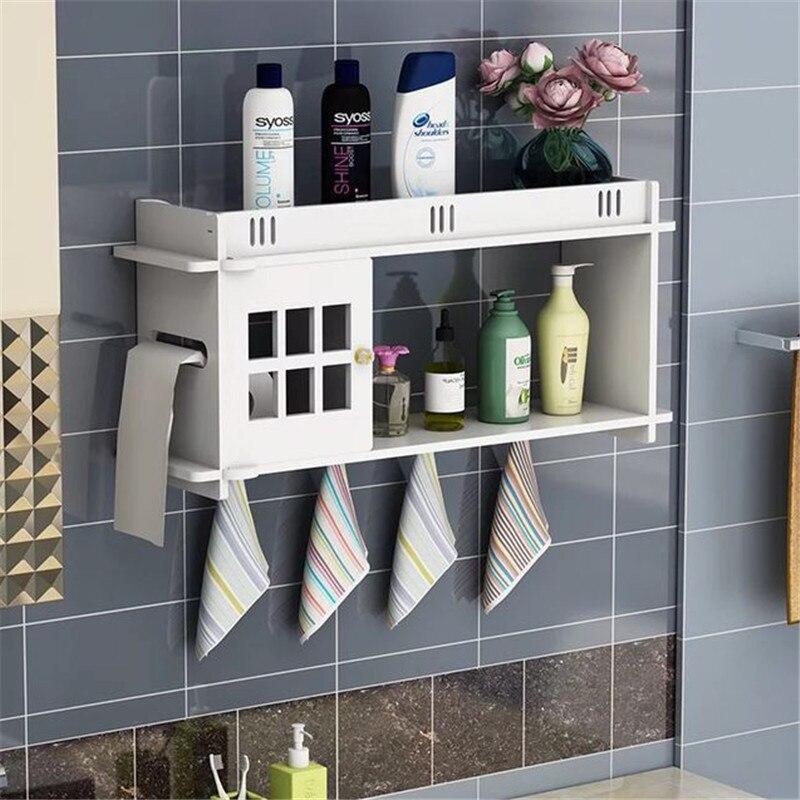 Bathroom Storage Rack Wall Mounted Shower Shelf Cosmetics Organizer ...