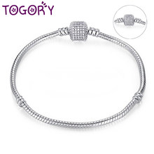 TOGORY Authentic Silver Plated Snake Chain DIY Charm Bracelet & Bangle DIY Fine Bracelet Jewelry for Women Gift Drop shipping(China)