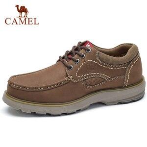 Image 1 - CAMELใหม่ของแท้หนังรองเท้ารองเท้าผู้ชายแฟชั่นกลางแจ้งรองเท้าCowhide Rhubarbรองเท้าManเย็บคุณภาพรองเท้า