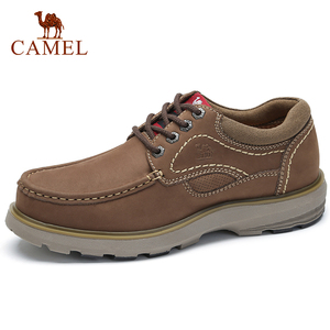 Image 1 - CAMEL New Genuine Leather Mens Shoes Tooling  Fashion Outdoor Casual Shoes Cowhide Rhubarb Shoes Man Stitching Quality Boots