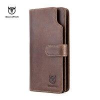 BULLCAPTAIN Men Long Design Quality Fashion Casual Card holder Leather Wallet Mens Purse Zipper Multi function coin purse Money