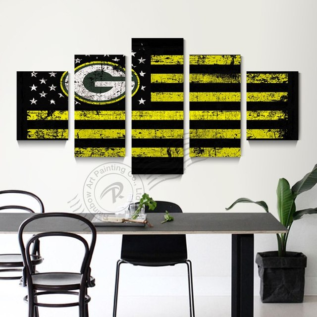 5 Piece Green Bay Packers Flag Logo Poster Wall Art Oil Painting Home Decor Picture For Living Room Modern Prints Unframd