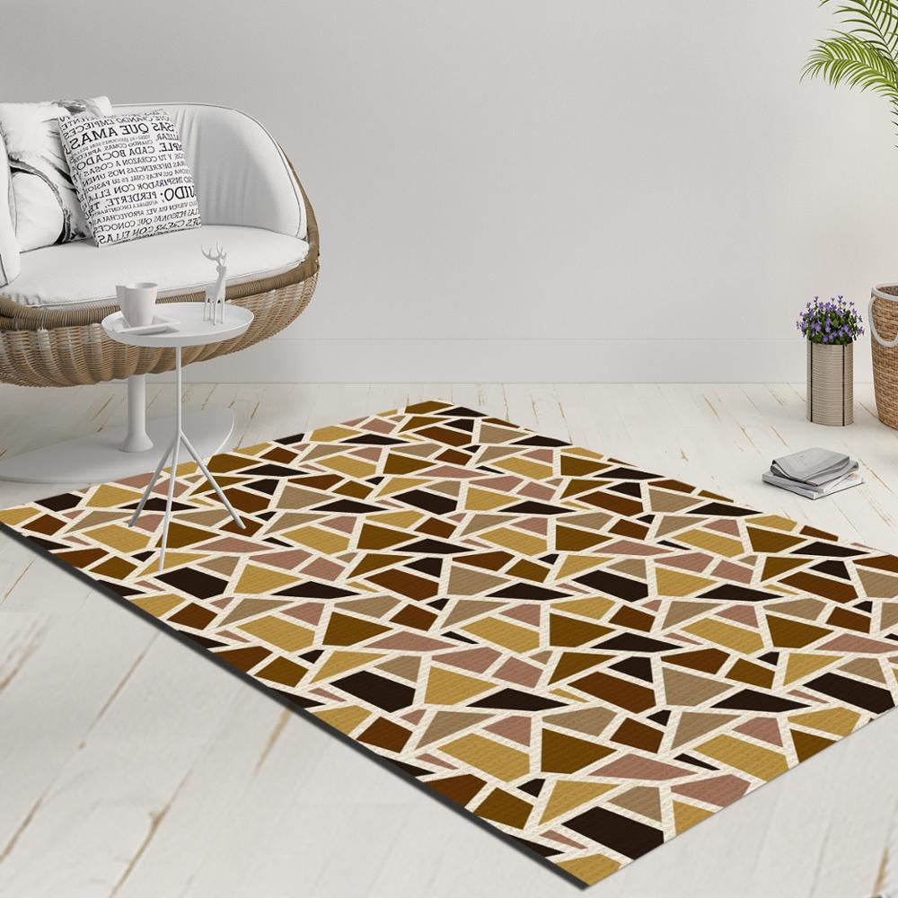 Else Brown Yellow Black Geometric Triangles Decorative 3d Print Anti Slip Kilim Washable Decorative Kilim Rug Modern Carpet