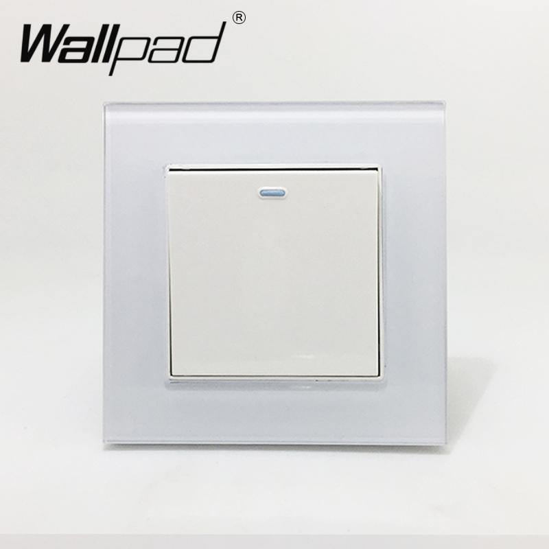 1 Gang 2 Way Wallpad Crystal Glass 110V-250V EU UK Standard Fluorescent 1 Gang 2 Way Corridor Push On Off Light Switch Button smart home uk standard crystal glass panel wireless remote control 1 gang 1 way wall touch switch screen light switch ac 220v