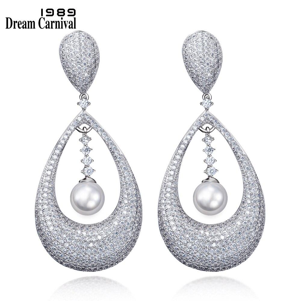 DreamCarnival 1989 Royal Design Women Luxury Jewellery Drop Shape Elegant Synthetic Pearls Wedding Earrings for Women SE11699
