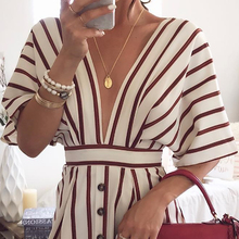 2018 Women's Vacation Bohemian Beach Striped Button Dress